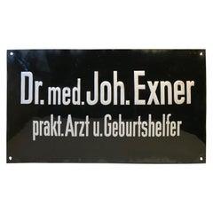 German Bauhaus Era Porcelain Medical Doctor Sign, 1930s
