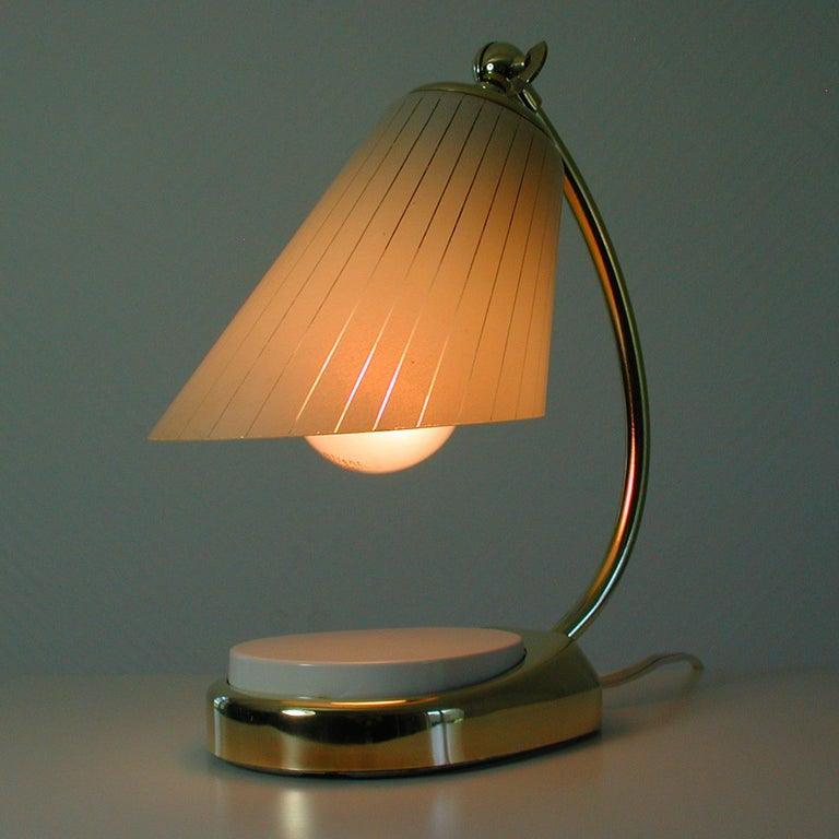 German Bauhaus Marianne Brandt Brass and Opal Touch Light Table Desk Lamp, 1960s For Sale 5
