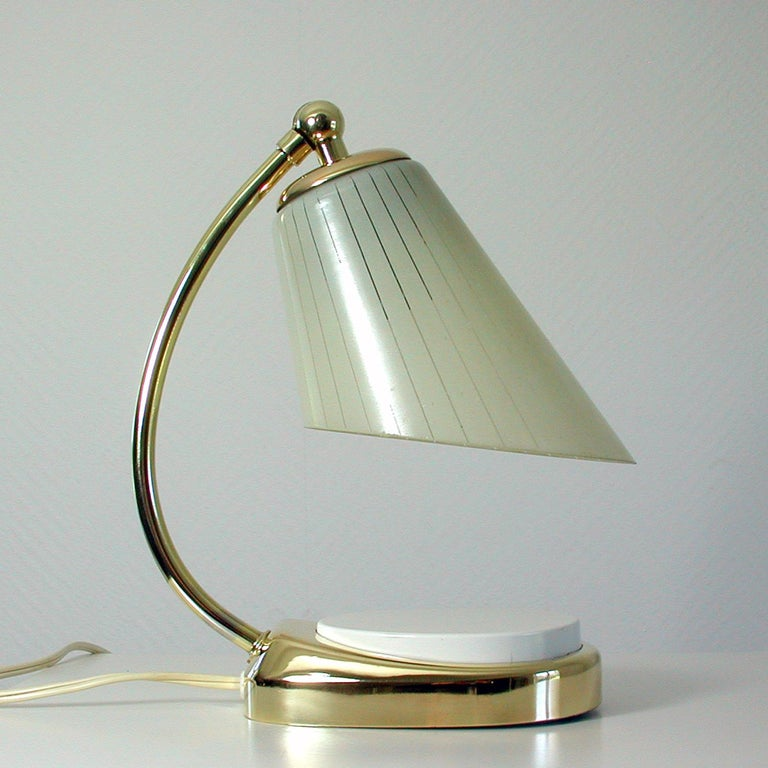 German Bauhaus Marianne Brandt Brass and Opal Touch Light Table Desk Lamp, 1960s In Good Condition For Sale In Nümbrecht, NRW