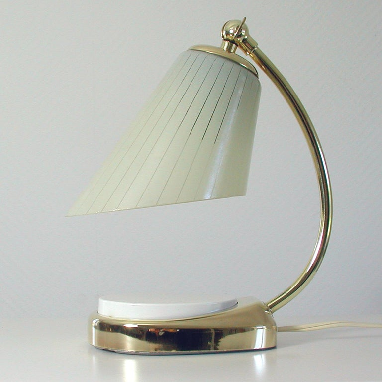 Mid-20th Century German Bauhaus Marianne Brandt Brass and Opal Touch Light Table Desk Lamp, 1960s For Sale