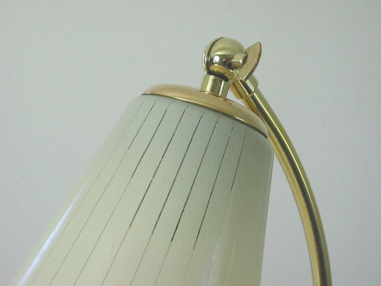 Opaline Glass German Bauhaus Marianne Brandt Brass and Opal Touch Light Table Desk Lamp, 1960s For Sale