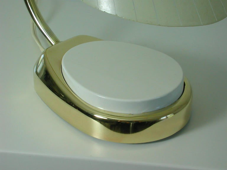 German Bauhaus Marianne Brandt Brass and Opal Touch Light Table Desk Lamp, 1960s For Sale 2