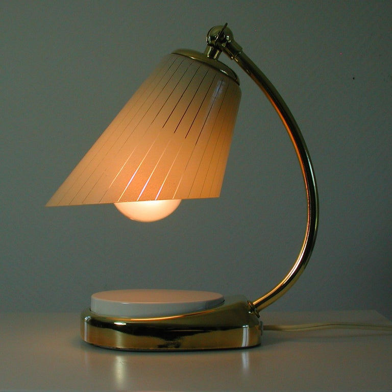 German Bauhaus Marianne Brandt Brass and Opal Touch Light Table Desk Lamp, 1960s For Sale 3