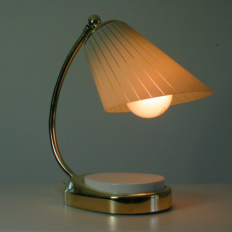 German Bauhaus Marianne Brandt Brass and Opal Touch Light Table Desk Lamp, 1960s For Sale 4
