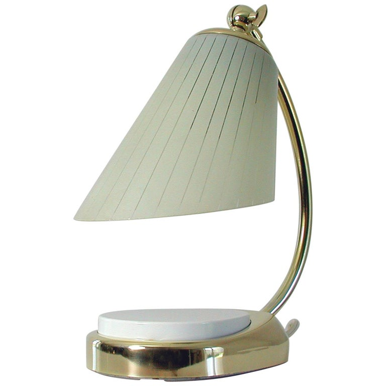 German Bauhaus Marianne Brandt Brass and Opal Touch Light Table Desk Lamp, 1960s For Sale