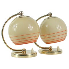 German Bauhaus Table Lamps, Brass and Opaline Shades, Set of 2, 1930s