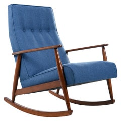 German Beech Mid-Century Modern Rocking Chair in Blue Fabric, 1950s
