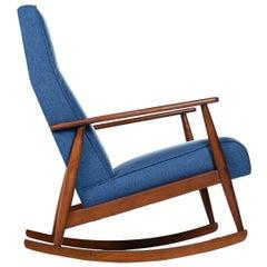 German Beech Mid-Century Modern Rocking Chair in Blue Fabric, 1950s