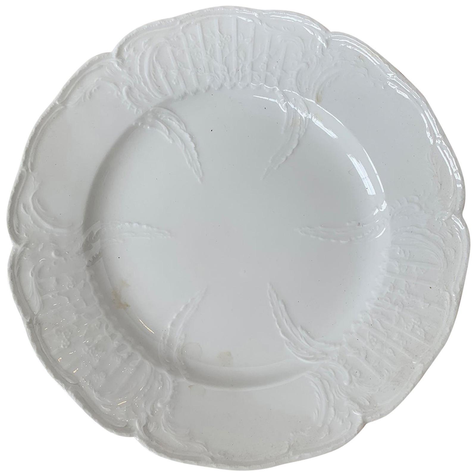 German Berlin Royal Vienna Style White Porcelain Plate by KPM Neuosier