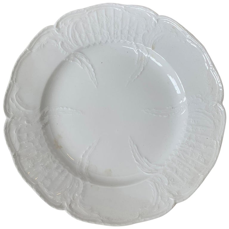 German Berlin Royal Vienna Style White Porcelain Plate by KPM Neuosier For Sale
