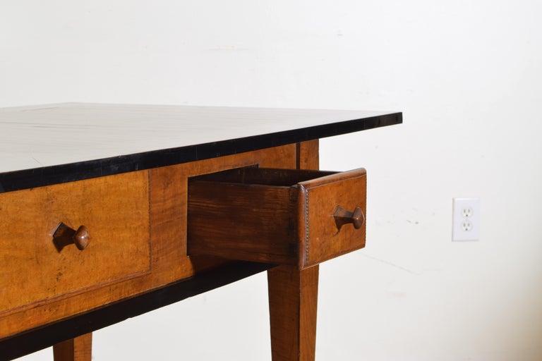 German Biedermeier Period Cherrywood and Ebonized Library Table, circa 1835 For Sale 1