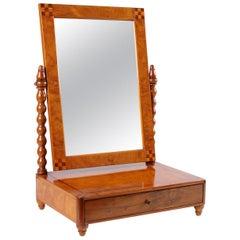 German Biedermeier Table Mirror in Brown, Ashwood, Marquetry, Mid-19th Century