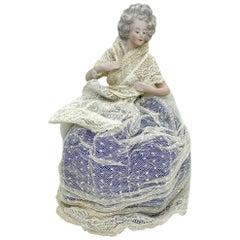 German Bisque Porcelain Half Doll with Original Wire Lace Skirt Antique, 1910s