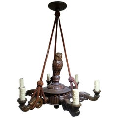 German Black Forest Chandelier with an Owl