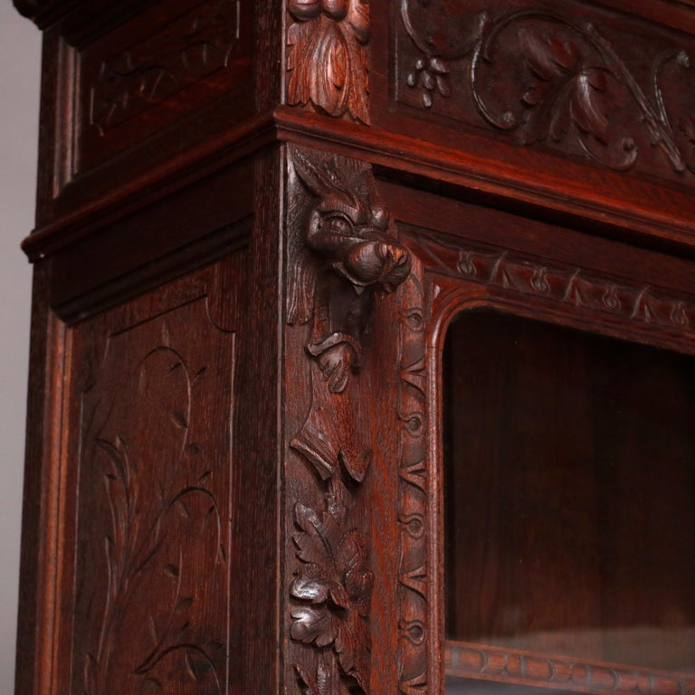German Black Forest Figural Carved Oak Hunt Court Cupboard, circa 1890 For Sale 13