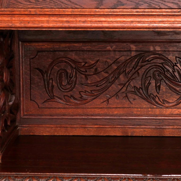 German Black Forest Figural Carved Oak Hunt Court Cupboard, circa 1890 For Sale 16