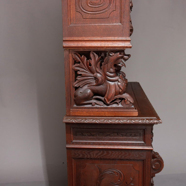 German Black Forest Figural Carved Oak Hunt Court Cupboard, circa 1890 In Good Condition For Sale In Big Flats, NY