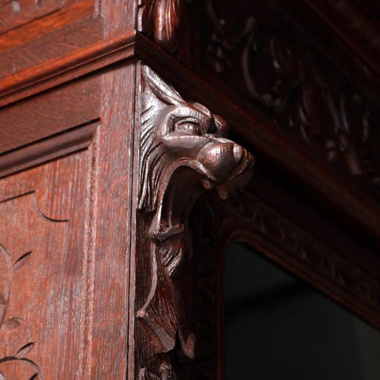 German Black Forest Figural Carved Oak Hunt Court Cupboard, circa 1890 For Sale 1