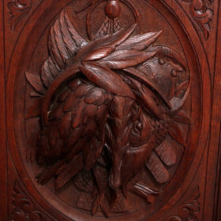 German Black Forest Figural Carved Oak Hunt Court Cupboard, circa 1890 For Sale 3