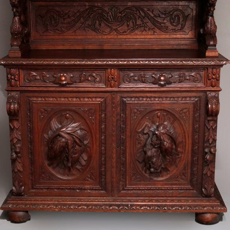 German Black Forest Figural Carved Oak Hunt Court Cupboard, circa 1890 For Sale 4