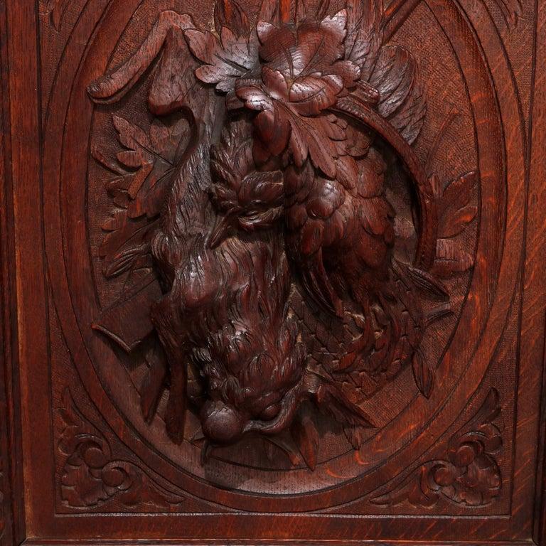 German Black Forest Figural Carved Oak Hunt Court Cupboard, circa 1890 For Sale 5