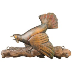 German Black Forest Hand Carved Coat Rack with Capercaillie Carving, 1900s