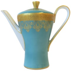 German Blue White and Gold Porcelain Tea or Coffee Pot