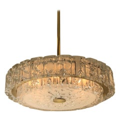 German Brass and Glass Two-Tier Chandelier by Doria