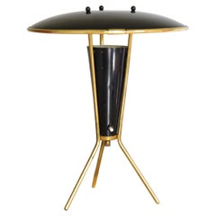 German Brass Atomic Tripod Table Lamp 1960's with Perforated Shade
