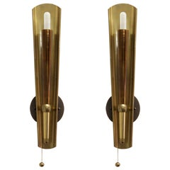 German Brass Candle Wall Lights, 1950