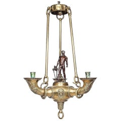 German Bronze Chandelier in the Greek Taste by Otto Schmidt-Hofer