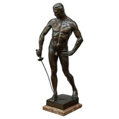 German Bronze Figure of a Nude Male Swordsman, circa 1901