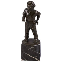 German Bronze Figure of a Seaman with Pipe, F. Staeger