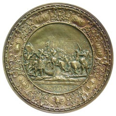 German Bronze Historicism Charger Depicting Entry of Henry IV into Paris in 1594