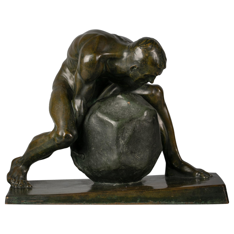 German Bronze Sculpture of Sisyphus, by Julius Frick