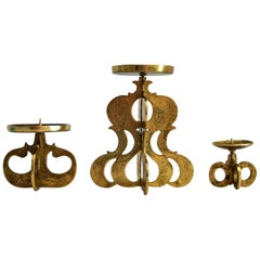 Midcentury Candlestick Holder in Brass in the Brutalist Style, Set of three