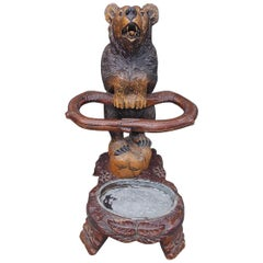 German Carved and Painted Walnut Black Forrest Bear Umbrella Stand, Circa 1880