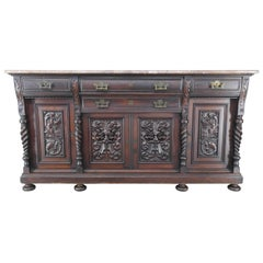 German Carved Marble-Top Sideboard, Late 19th Century