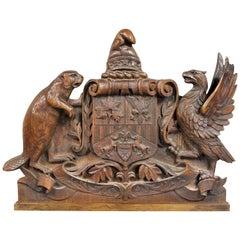 German Carved Oak Coat of Arms