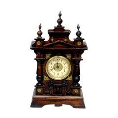 German Carved Wood Shelf Clock Black Forrest.