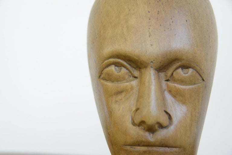 German Carved Wooden Milliners Head, circa 1910 In Good Condition For Sale In Gloucester, GB