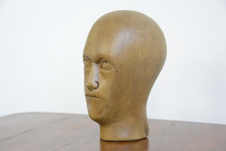 20th Century German Carved Wooden Milliners Head, circa 1910 For Sale