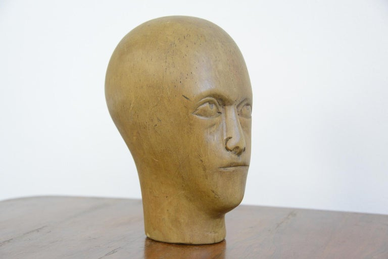Sycamore German Carved Wooden Milliners Head, circa 1910 For Sale