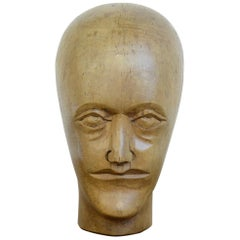 German Carved Wooden Milliners Head, circa 1910