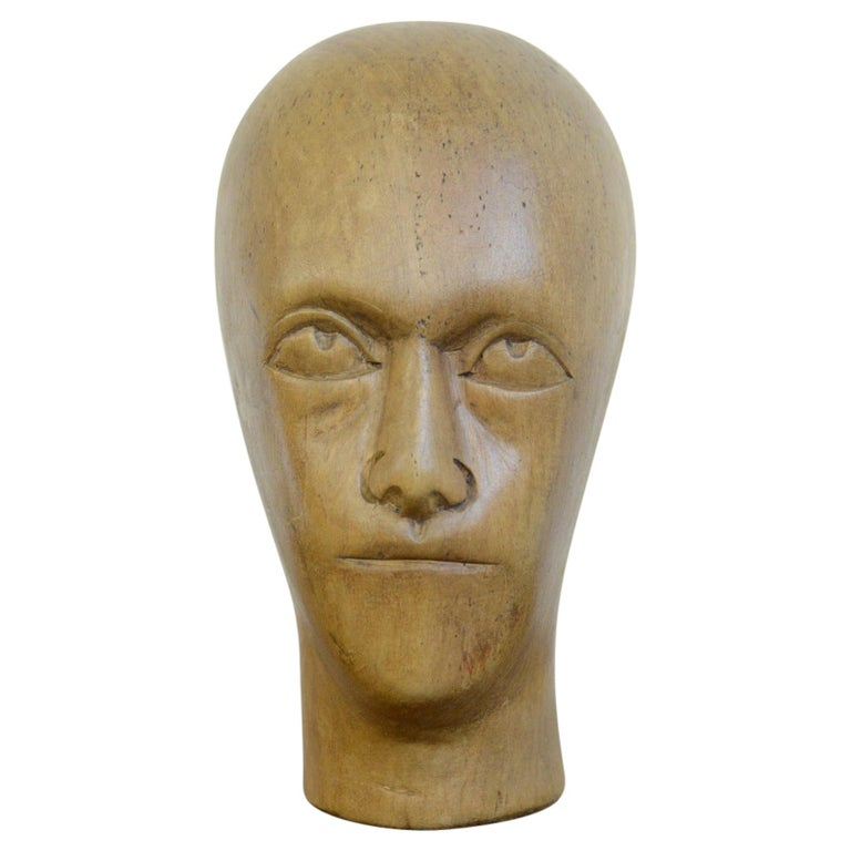 German Carved Wooden Milliners Head, circa 1910 For Sale