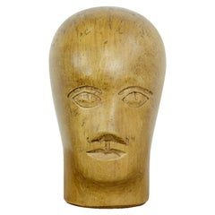 German Carved Wooden Milliners Head, circa 1910