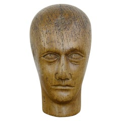 German Carved Wooden Milliners Head, circa 1920
