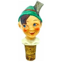 German Ceramic Figural Boy Head Cork Pourer Bottle Stopper, 1930s