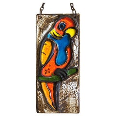 German Ceramic Parrot Tile