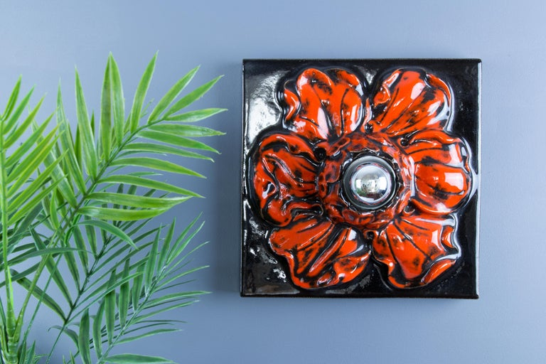 German Ceramic Red and Black Flower Shaped Square Wall or Ceiling Lamp, 1960s For Sale 13